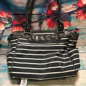 Carters grey and white striped diaper bag
